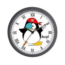 Pirate Penguin Wall Clock