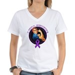 I Will Survive Pancreatic Cancer Women's V-Neck T-