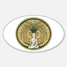 Buddha and the Bodhi Tree Sticker (Oval)