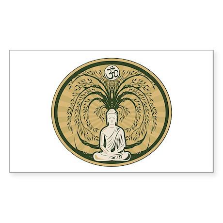 Buddha and the Bodhi Tree Sticker (Rectangle)