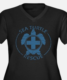 Sea Turtle Rescue Women's Plus Size V-Neck Dark T-