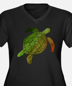 Swimming Turtle Women's Plus Size V-Neck Dark T-Sh