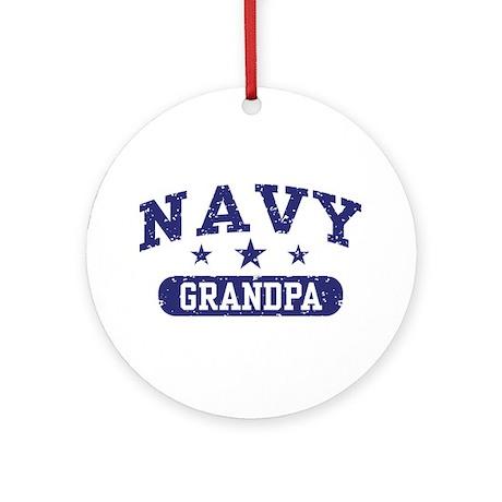 Navy Grandpa Ornament (Round)