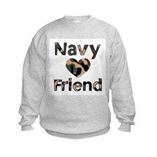 Navy Friend Heart Camo Sweatshirt