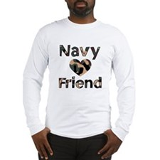 Navy Friend Heart Camo Long Sleeve T-Shirt