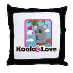 Koala & Love Throw Pillow