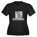 Koala & Love Women's Plus Size V-Neck Dark T-Shirt