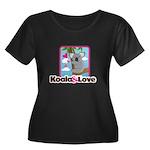 Koala & Love Women's Plus Size Scoop Neck Dark T-S
