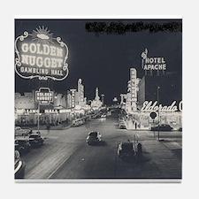 Vintage Las Vegas at Night Tile Coaster