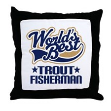 Trout Fisherman Throw Pillow