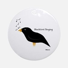 Blackbird Singing Ornament (Round)
