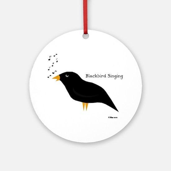Blackbird Singing Ornament (Round)