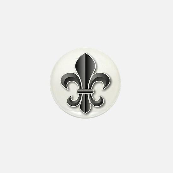Black Fleur de Lys Mini Button