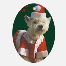 Christmas Westie Ornament (Oval)