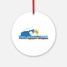 Long Beach Island NJ - Waves Design Ornament (Roun