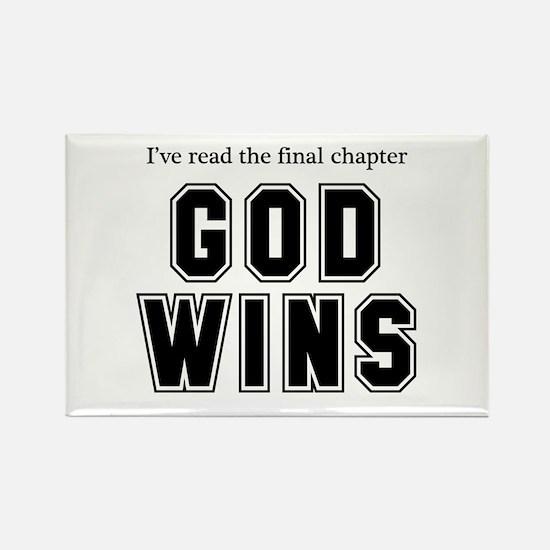 God Wins Rectangle Magnet