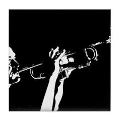 Abstract Jazz Trumpet Tile Coaster