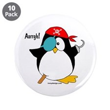 "Pirate Penguin 3.5"" Button (10 pack)"