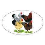 Wyandotte Rooster Assortment Sticker (Oval 10 pk)