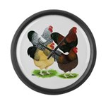 Wyandotte Rooster Assortment Large Wall Clock