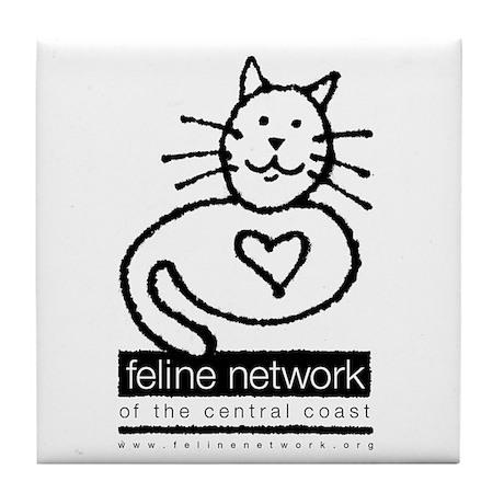 Feline Network Logo - BW Tile Coaster