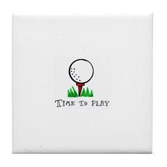 Time To Play- Golf Ball Tile Coaster