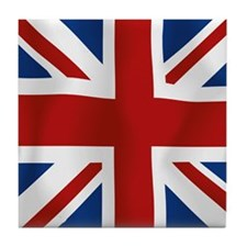 Union Jack flying flag Tile Coaster