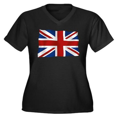 Union Jack flying flag Women's Plus Size V-Neck Da