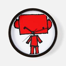 red robobud, black Wall Clock