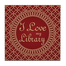 Ornate I Love My Library Tile Coaster