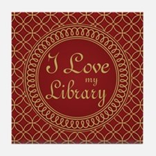 Ornate I Love My Library Tile Coaster