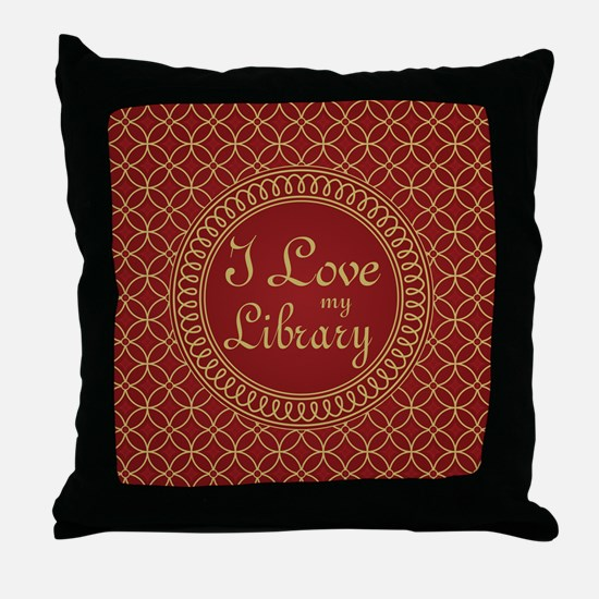 Ornate I Love My Library Throw Pillow
