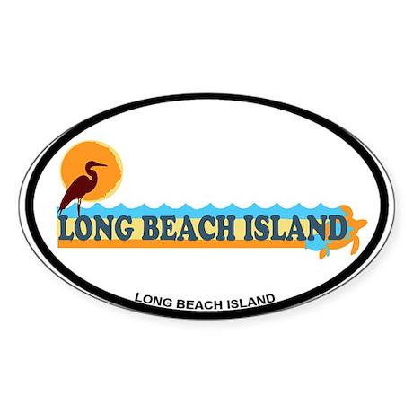 Long Beach Island NJ - Beach Design Sticker (Oval)