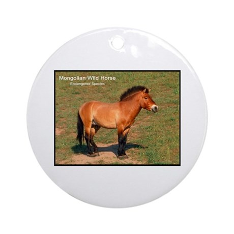 Mongolian Wild Horse Photo Ornament (Round)