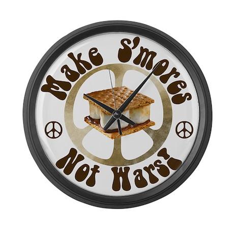 Make Smores Not Wars Large Wall Clock