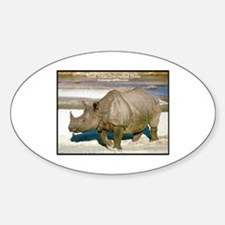 Indian One-Horned Rhino Photo Oval Decal