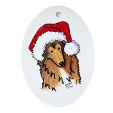 Christmas Collie Ornament (Oval)