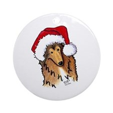 Christmas Collie Ornament (Round)