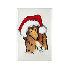 Christmas Collie Rectangle Magnet (100 pack)