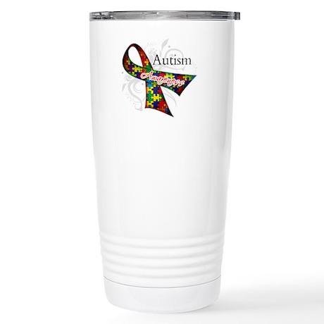 Autism Awareness Ribbon Stainless Steel Travel Mug