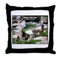 Markhor Wild Goat Photo Throw Pillow