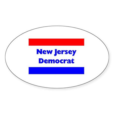 New Jersey Democrat Oval Sticker