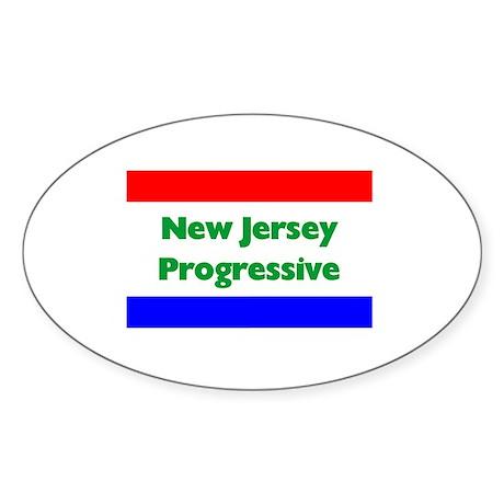 New Jersey Progressive Oval Sticker