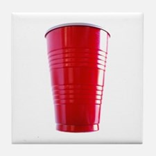 Red Cup Here! Tile Coaster