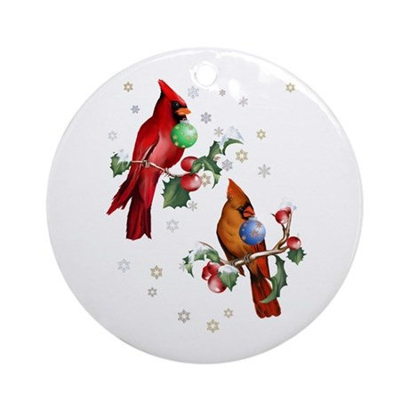 Two Christmas Birds Ornament (Round)