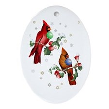 Two Christmas Birds Ornament (Oval)