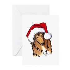 Santa Paws Collie Greeting Cards (Pk of 20)