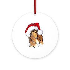 Santa Paws Collie Ornament (Round)