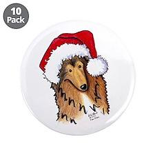 "Santa Paws Collie 3.5"" Button (10 pack)"