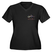 Cute Aruba Women's Plus Size V-Neck Dark T-Shirt